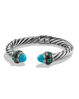 David Yurman Renaissance Bracelet with Turquoise and Green Onyx