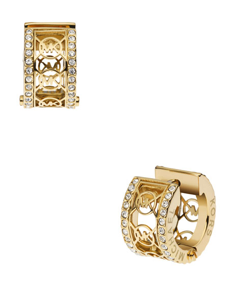 Monogram Pave Huggie Earrings, Golden