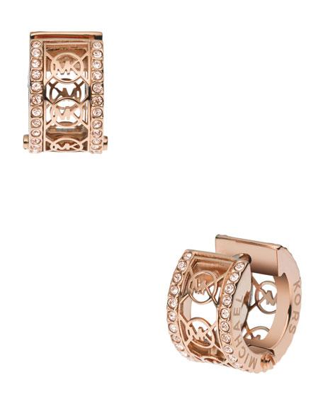 Monogram Pave Huggie Earrings, Rose Golden