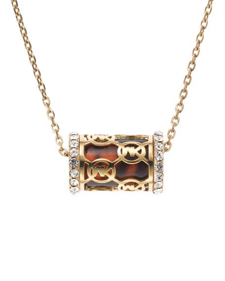 Monogram Pave Barrel Necklace, Golden/Tortoise