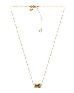 Michael Kors  Monogram Pave Barrel Necklace, Golden/Tortoise