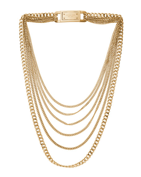 Multi-Strand Chain-Link Necklace, Golden