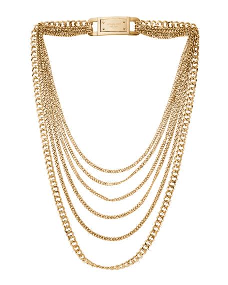 Michael Kors Multi-Strand Chain-Link Necklace, Golden