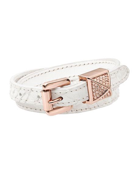 Leather Wrap Bracelet, White/Rose Golden