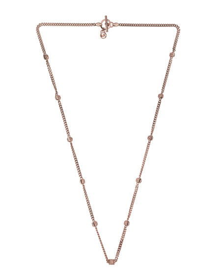 Pyramid-Stud-Station Necklace, Rose Golden