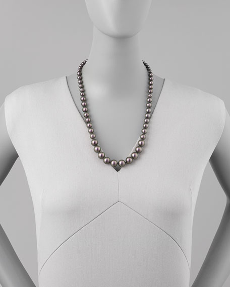 Graduated Simulated Pearl Necklace, Tahitian