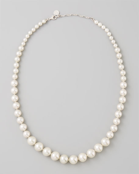 Graduated White Pearl Necklace, 8-12mm