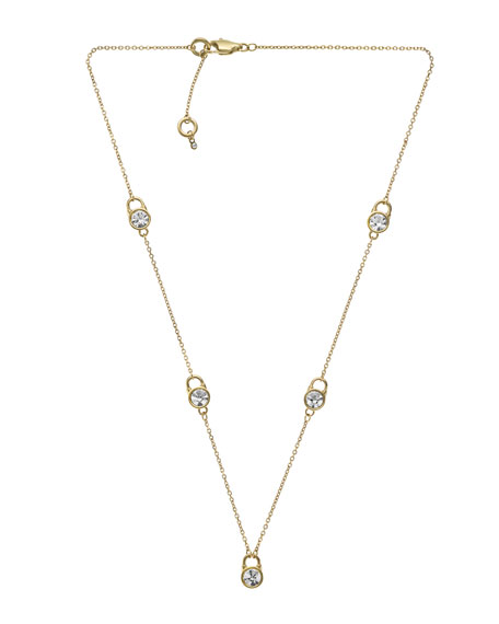 Small Lock Station Necklace, Golden