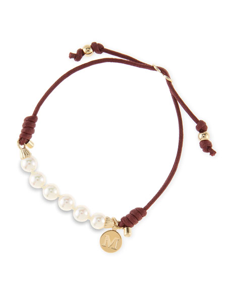 6mm White Pearl Bracelet, Burgundy