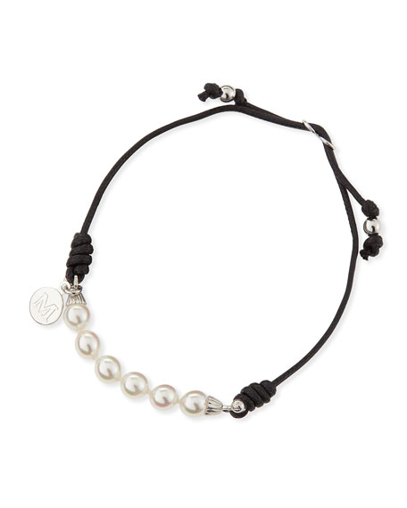 6mm White Pearl Bracelet, Black