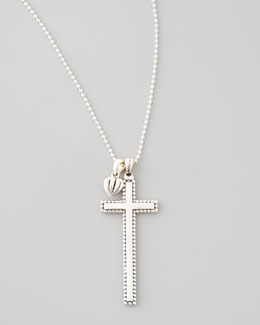 Lagos Caviar-Trim Cross & Heart Pendant Necklace