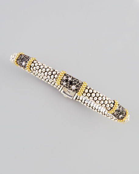 Nightfall Silver/18k Triple-Station Spinel Caviar Bracelet, 6mm