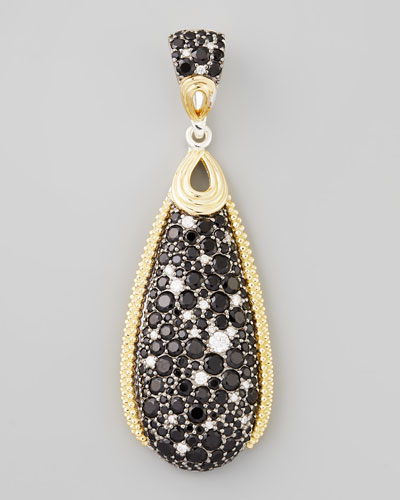 Lagos Nightfall Silver/18k Spinel Teardrop Pendant, 54 x 18mm