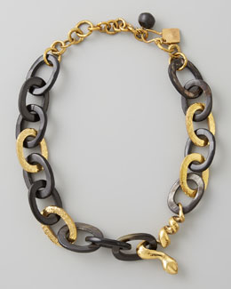 Ashley Pittman Nyoka Snake Necklace, Dark Horn