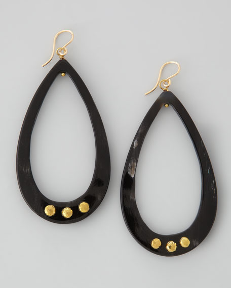 Ashley Pittman Chozi Horn Teardrop Earrings, Dark Horn