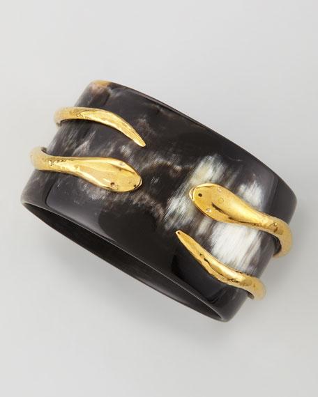 Pacha Bronze-Tubed Snake Bangle, Dark Horn