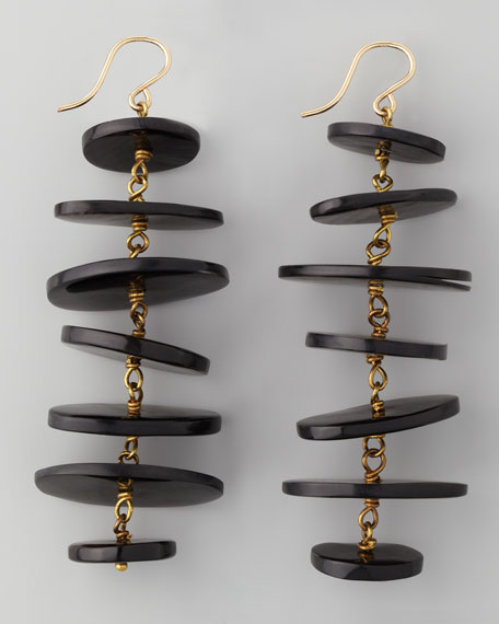 Kuyuga Multi-Tiered Disk Earrings, Dark Horn