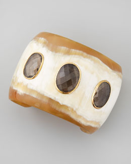 Ashley Pittman Rangi Smoky Quartz Cuff, Light Horn