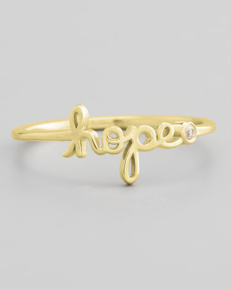 Bezel Diamond Hope Ring, Yellow Gold
