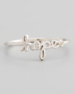 SHY by Sydney Evan Hope Diamond Silver Script Ring