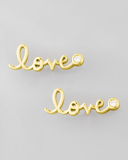 SHY by Sydney Evan Diamond-Bezel Love Stud Earrings, Yellow Gold