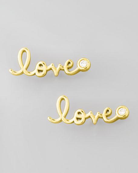 SHY by SE Diamond-Bezel Love Stud Earrings, Yellow