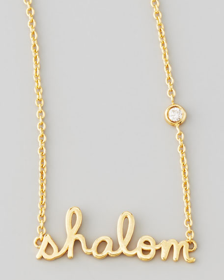 SHY by SE Shalom Necklace with Diamond, Golden
