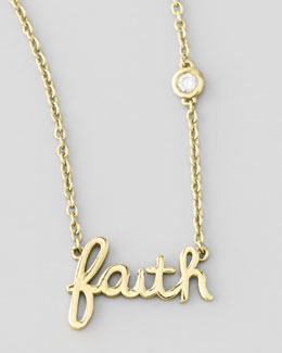SHY by Sydney Evan Faith Necklace with Diamond, Golden