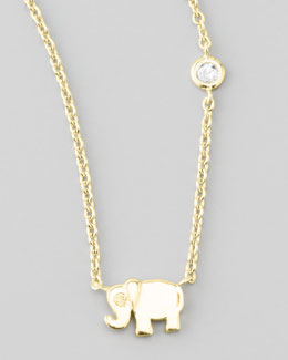 SHY by Sydney Evan Elephant Pendant Necklace with Diamond, Golden