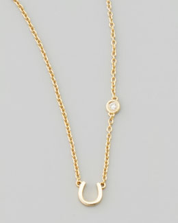 SHY by Sydney Evan Horseshoe & Single-Diamond Necklace