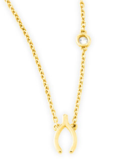 SHY by Sydney Evan Wishbone Necklace with Diamond, Gold