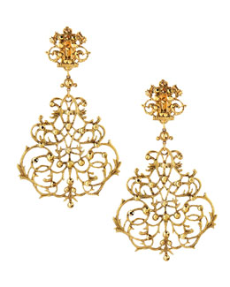 Jose & Maria Barrera Scroll Chandelier Clip Earrings