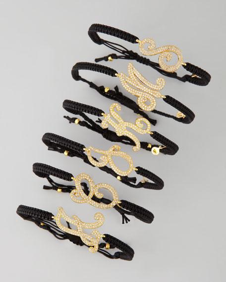 Pave Crystal Letter Braid Bracelet, Black