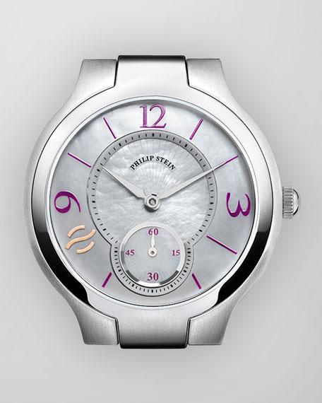 Small Round Watch Head, Stainless/Aubergine