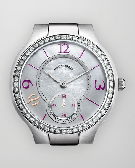 Small Round Diamond Watch Head, Stainless/Aubergine