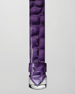 Philip Stein 20mm Alligator-Print Strap, Purple