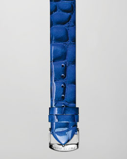 Philip Stein 20mm Alligator-Print Strap, Blue