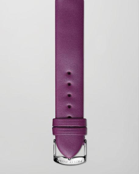 18mm Calfskin Leather Strap, Purple