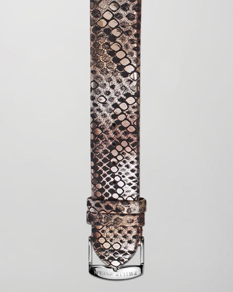 18mm Metallic Snake-Print Strap, Bronze