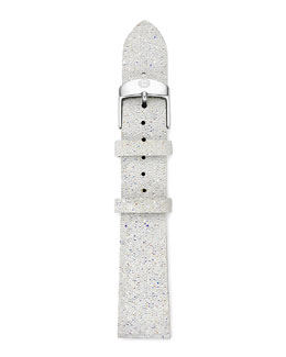 MICHELE 18mm Crystal-Covered Leather Strap, White