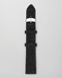 MICHELE 16mm Crystal-Covered Leather Strap, Black