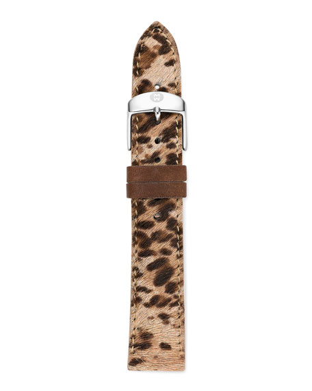 MICHELE18mm Cheetah-Print Calf Hair Strap, Brown