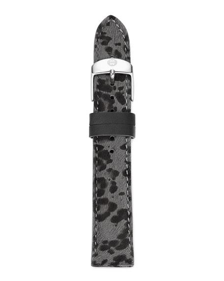 16mm Cheetah-Print Calf Hair Strap, Gray