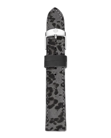 18mm Cheetah-Print Calf Hair Strap, Gray