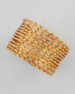 Chamak by Priya Kakkar Set of 12 Thin Scored Glitter Bangles, Orange/Gold