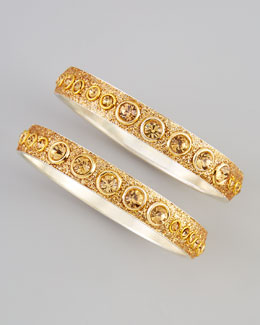 Chamak by Priya Kakkar Two-Piece Glittered Dot Bangles, Gold