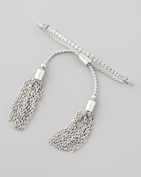 Sliding Tassel Bar Bracelet, Silver