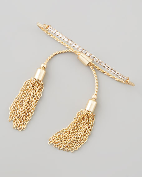 Sliding Tassel Bar Bracelet, Gold