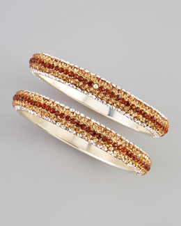 Chamak by Priya Kakkar Two-Piece Crystal Bangles, Amber