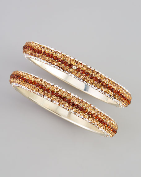 Two-Piece Crystal Bangles, Amber